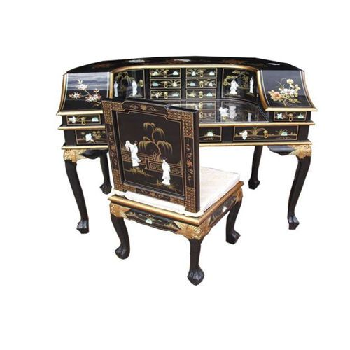 MOTHER OF PEARL ORIENTAL FURNITURE BLACK LACQUER DRESSING