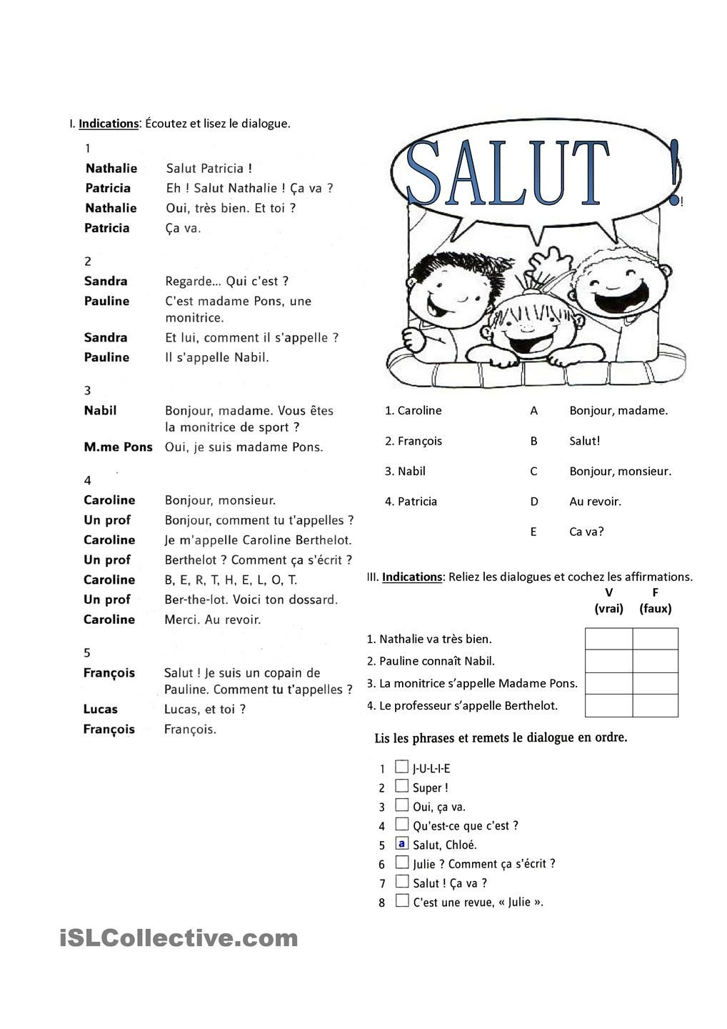 Les Salutations Fiches Fle Pinterest French Worksheets French