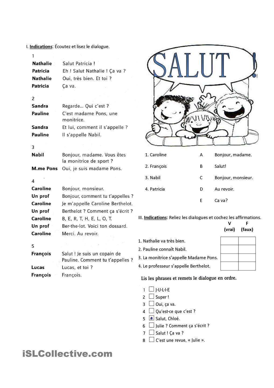 Les Salutations | Sub Binder | Pinterest | Französisch, Schule und ...