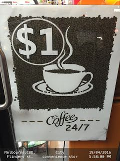 $1 COFFEE Sign with Espresso Beans Image   .CITY-CONVENIENCE-STORE Budget Coffee-And-Tea Flinders-Street Food-And-Drinks Melbourne Signs