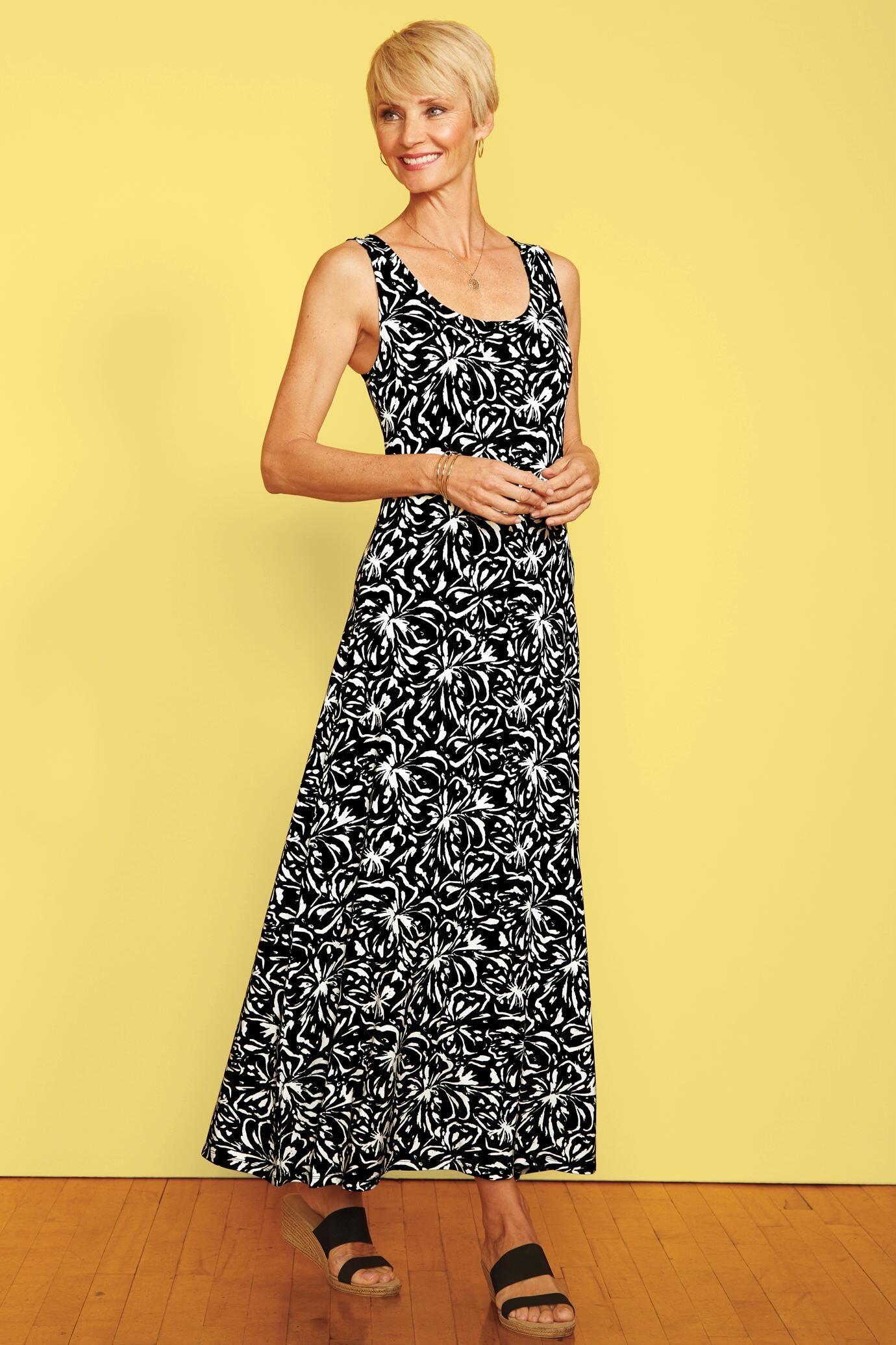 9682af7fa25 Traveler Knit Blossom Print Maxi Tank Dress   Travelsmith  89.95 -  99.95
