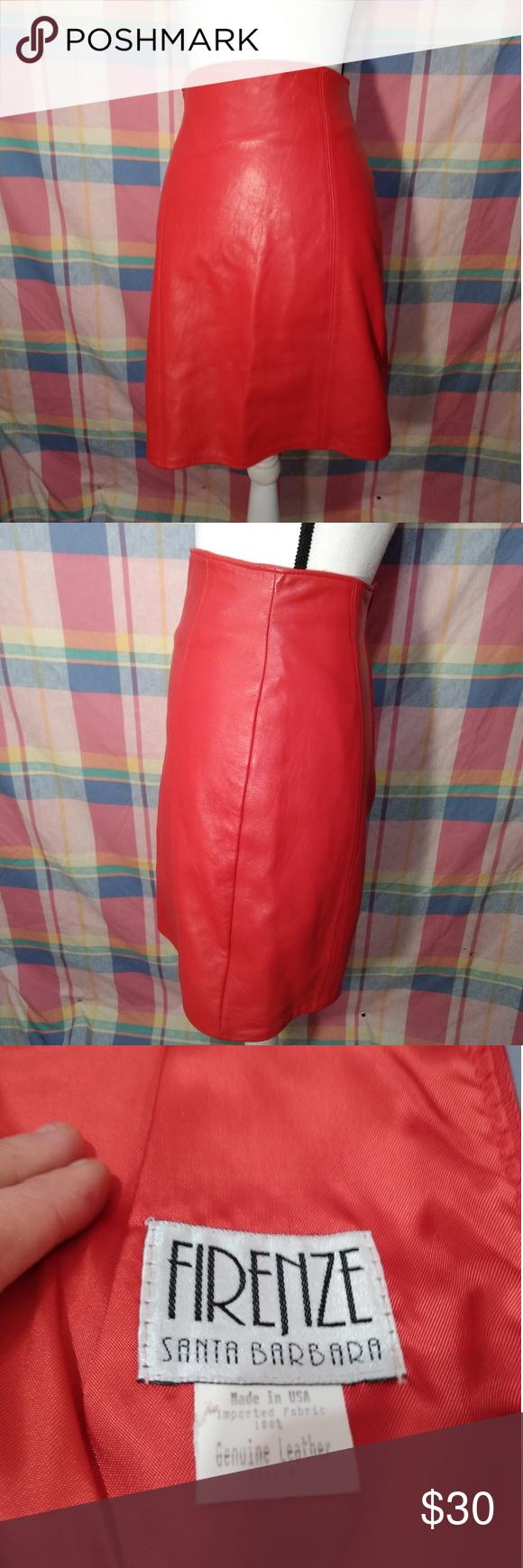 8e6e8c2cc1 VTG 80's High Waisted Leather FIRENZE Skirt 80's red leather high waisted  soft leather skirt,