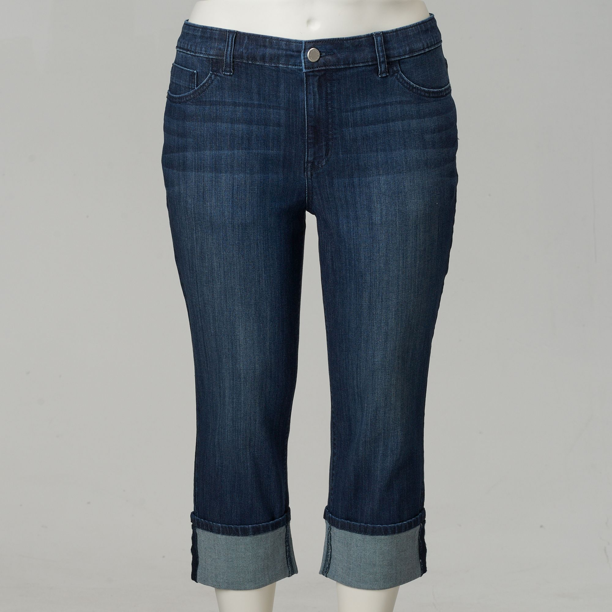 a0f4ce4e85faa Women's Plus Size Simply Vera Vera Wang Cuffed Capri Jeans, Size: 18 W,  Blue (Navy)