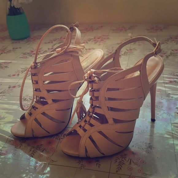 BEAUTIFUL Laced Heels WORN ONCE FOR A WEDDING! Great conditions. Negotiable pricing ! Charlotte Russe Shoes Heels
