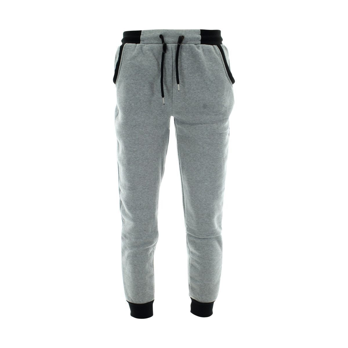 Galaxy By Harvic - Men`S Fleece Zipper Two Tone Joggers - Heather Grey