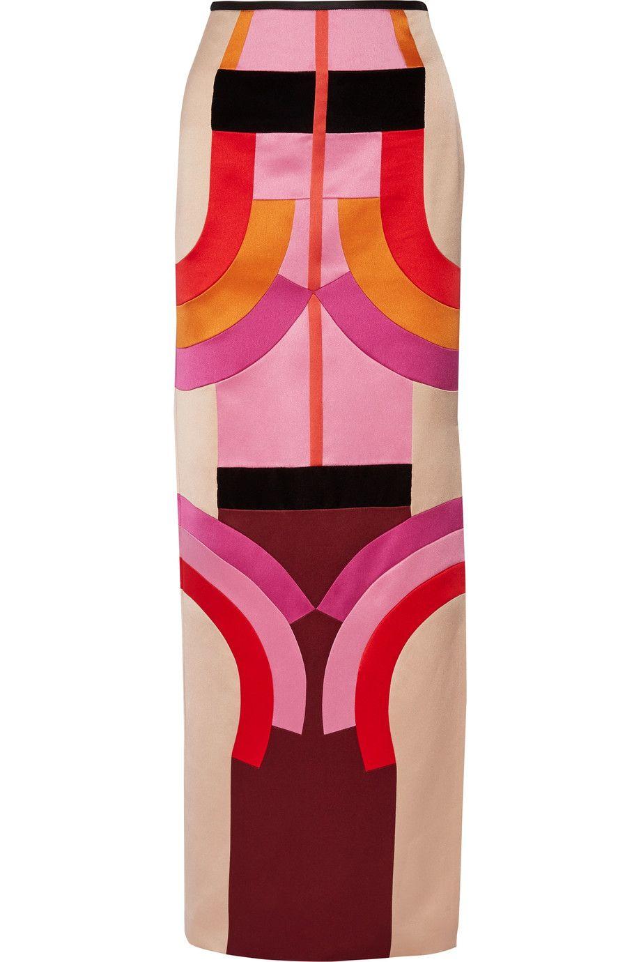 TOM FORD Velvet-trimmed color-block silk-satin maxi skirt. #tomford #cloth #skirt