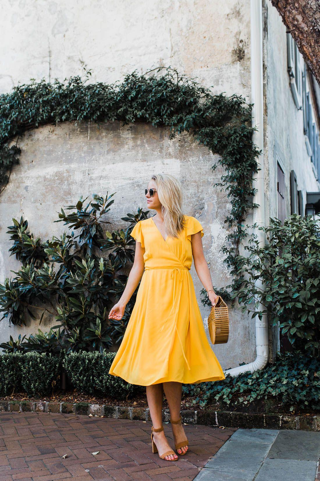 Yellow Midi Wrap Dress Styled Snapshots Yellow Dress Outfit Summer Dresses Midi Wrap Dress [ 1650 x 1100 Pixel ]