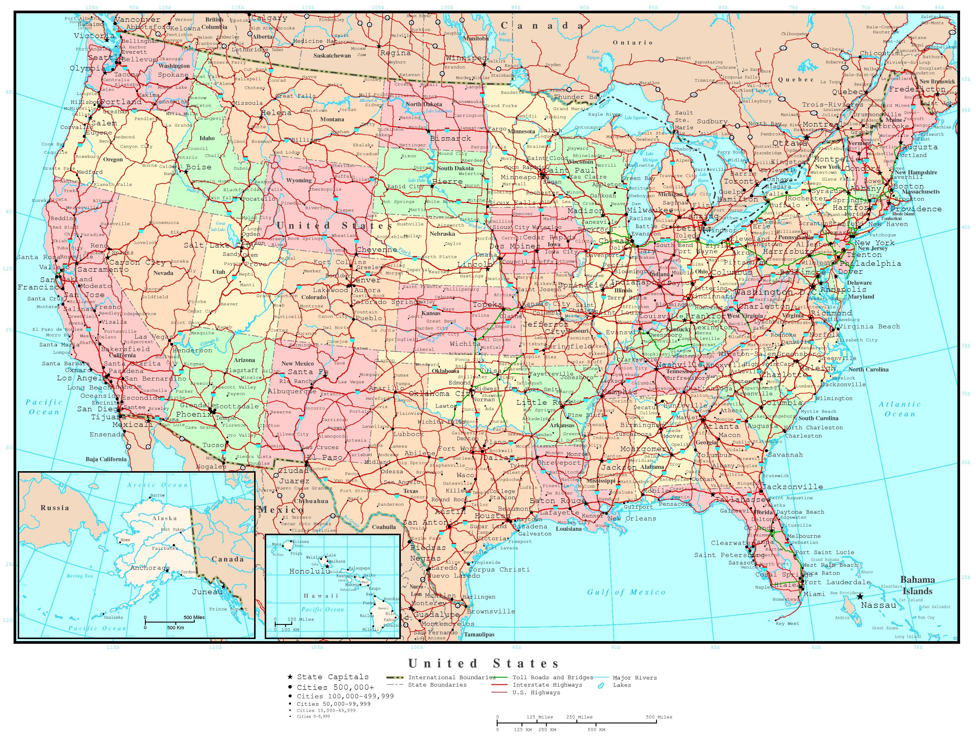 Reference Map Showing Major Highways And Cities And Roads Of - Us map with cities