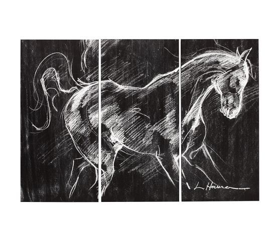 Planked Horse Triptych Pottery Barn Triptych Wall Art Triptych Triptych Art