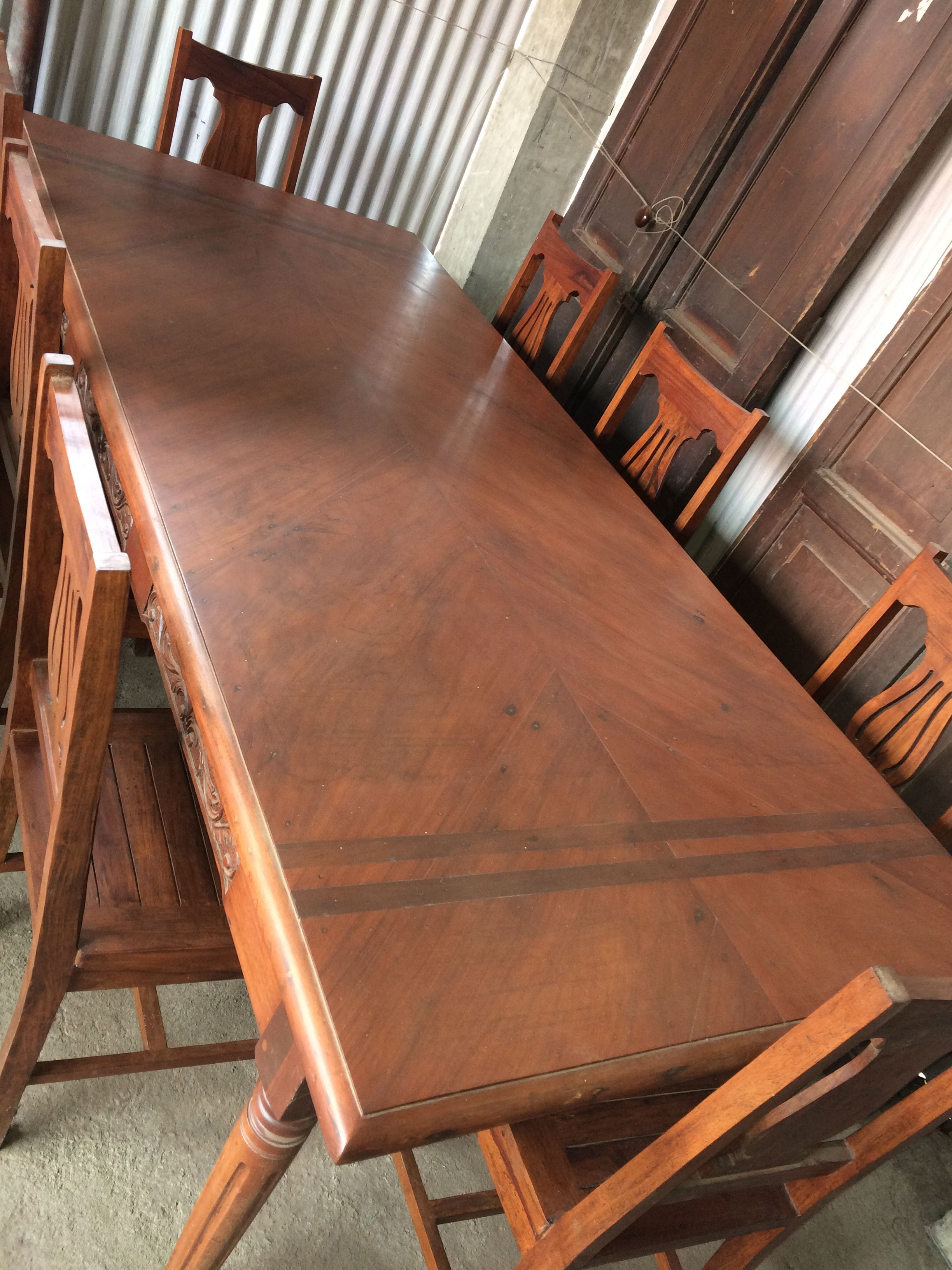 My Vintage 8 Seater Narra Dining Table Inlaid Wood