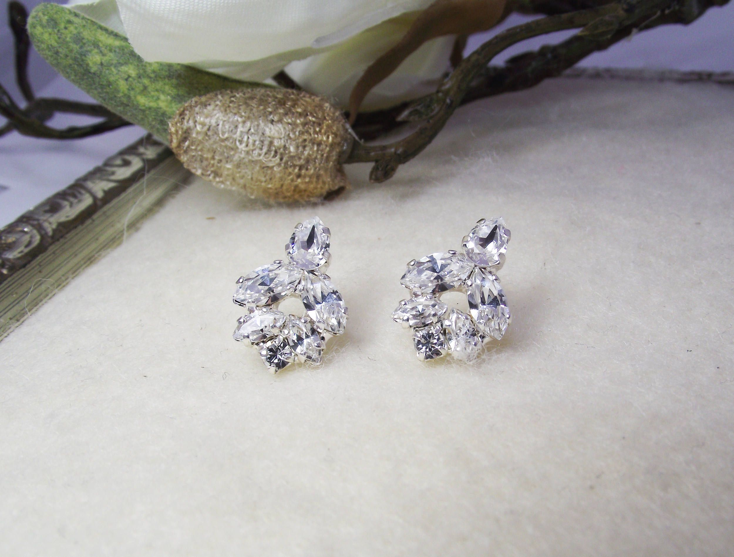 Wedding Earrings Crystal Earrings Silver Bridal Jewelry Swarovski