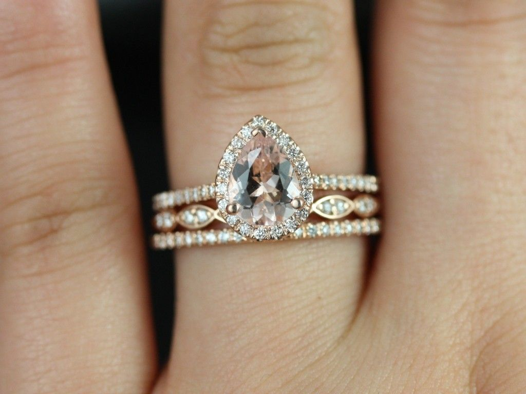 rosados box tabitha and christie trio rose gold pear morganite and diamond halo wedding set - Halo Wedding Ring