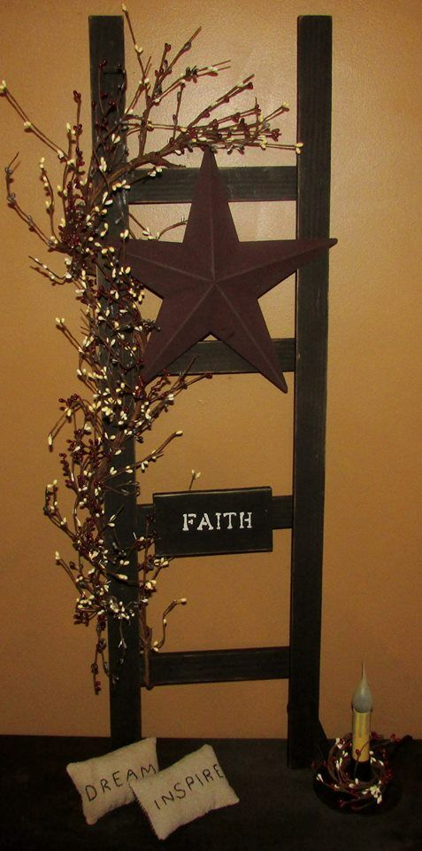 Black Decorative Ladders $35 Wall Hanging, Ladder, Star, Country,  Primitive, Rustic