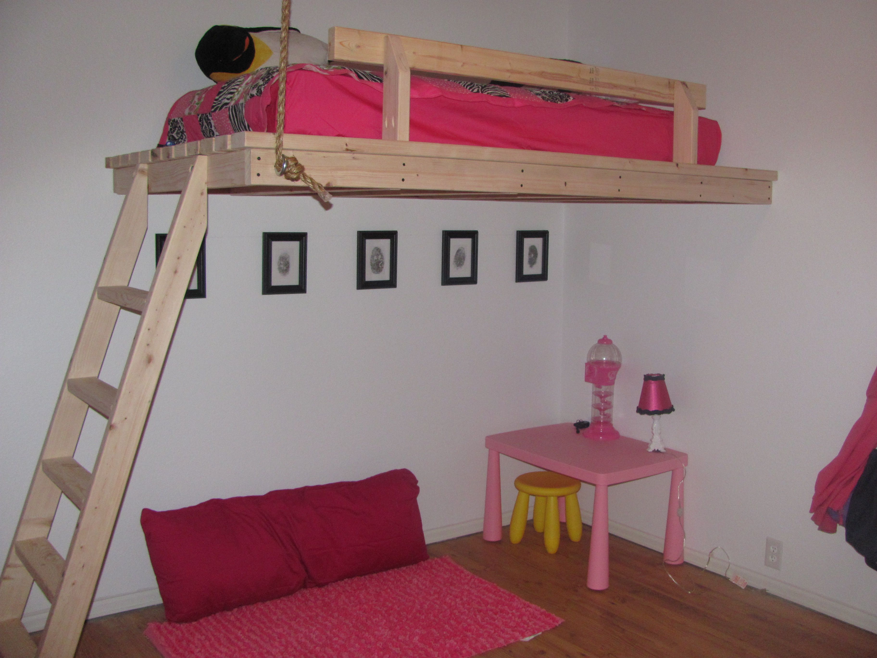 Hot pink and black girls spy room. It has spy gadgets from