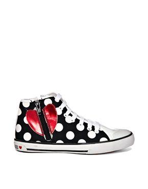ba8f7a9cdf2 Love Moschino Polka Dot High Top Sneakers