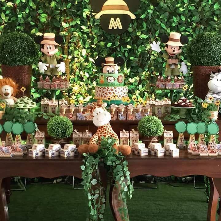 Festa da Mam u00e3e Patricia com meus Mickey Safari e topo de bolo Amei fazer estas peças! #  -> Decoração Festa Infantil Zoologico