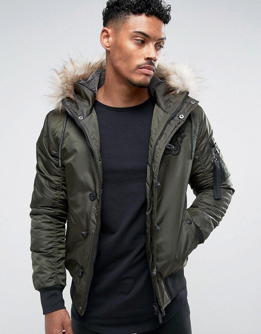 Siksilk Bomber Jacket In Khaki With Faux Fur Hood Green Bomber Jacket Jackets Faux Fur Hood [ 1110 x 870 Pixel ]