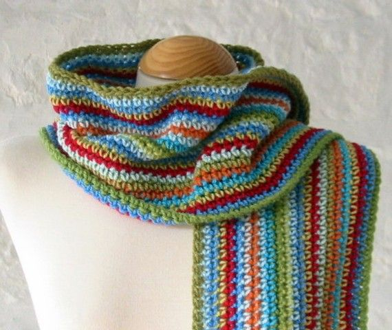 Campus Unisex Crochet Striped Scarf Handmade In By Thesunroomuk