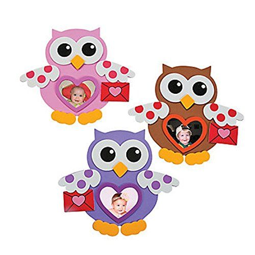 Foam Valentine Owl Picture Frame Magnet Craft Kits | Projects to try ...