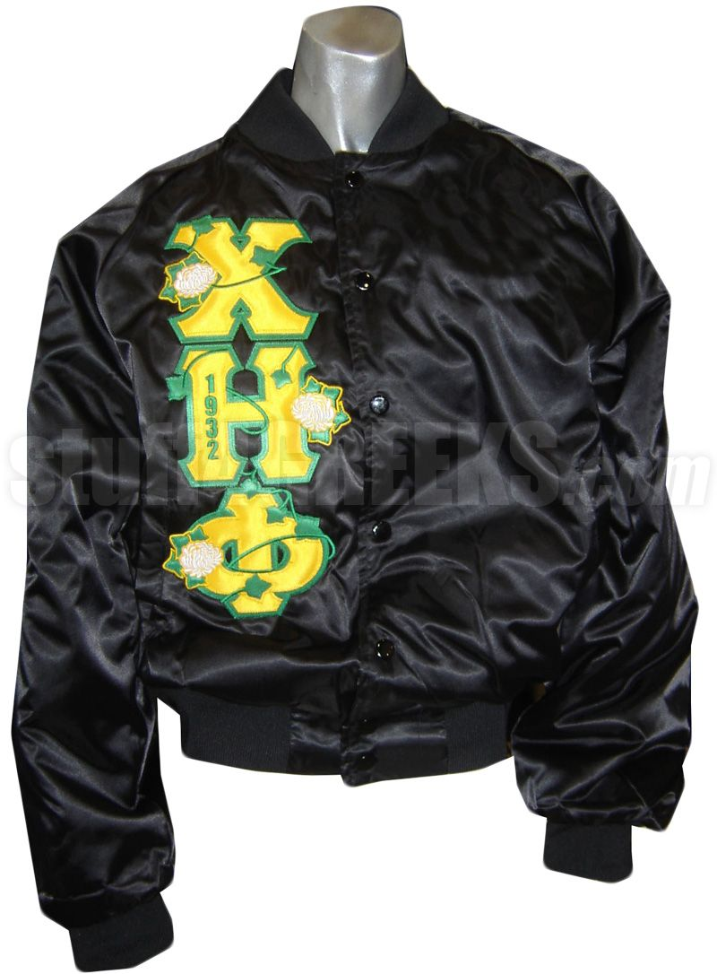 CHI ETA PHI BASEBALL JACKET WITH FLOWERS THRU GREEK LETTERS