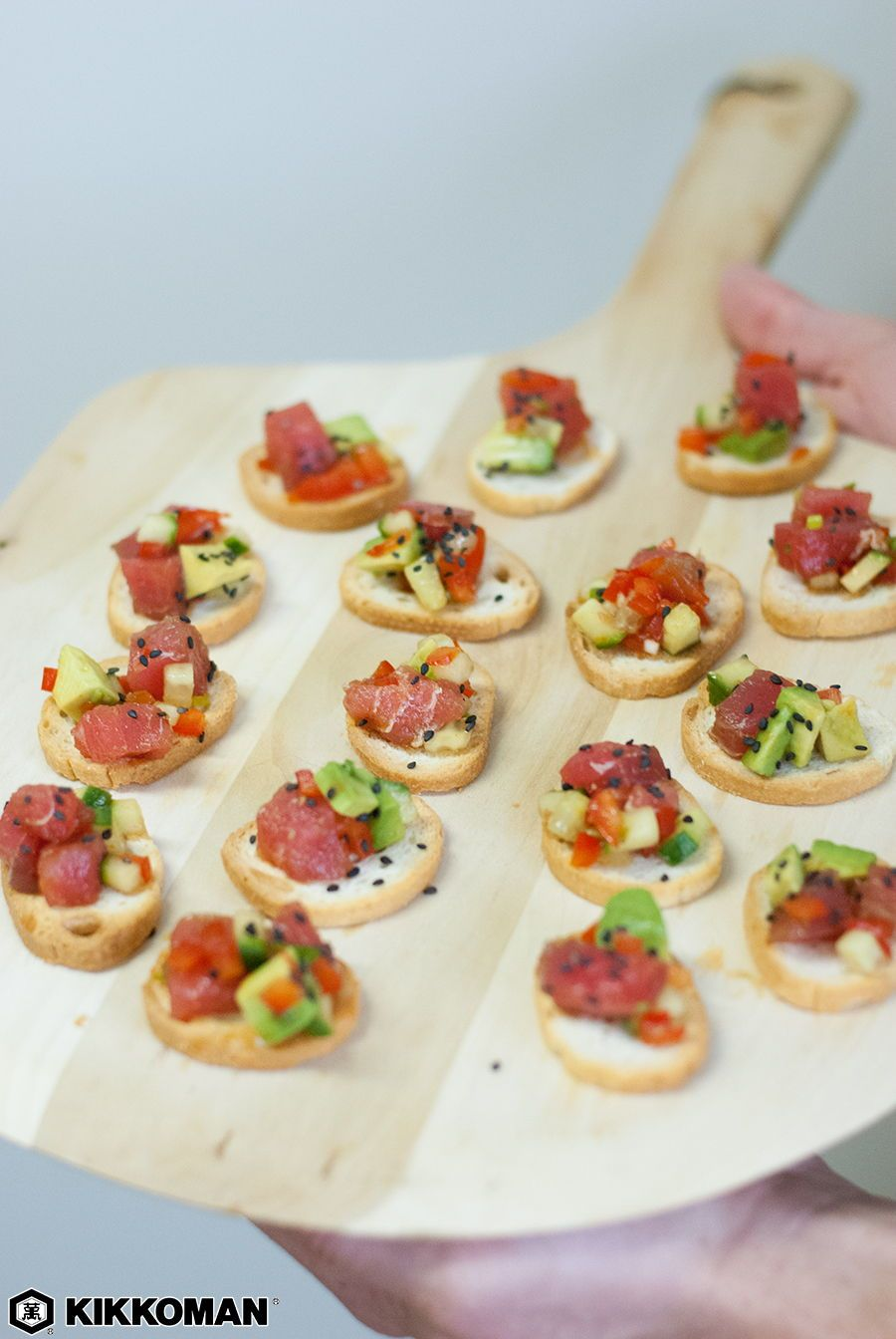 Tuna Poke Crostinis Recipe Stuffed Peppers Tuna Poke Crostini