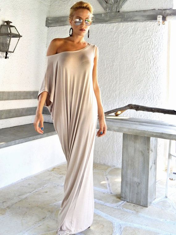 Viscose Maxi Dress / Beige Kaftan / Asymmetric by SynthiaCouture