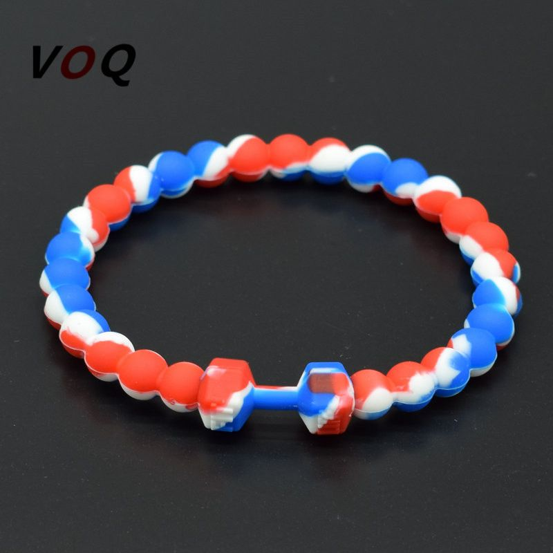 2017 Fashion Mixed Color Silicone Dumbbell Bracelets for Women Fitness Energy Sporty Bracelet Men Jewelry #Affiliate