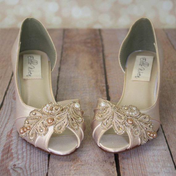 CUSTOM CONSULTATION: Wedding Shoes, Ivory Wedding Shoes, Champagne Wedding  Shoe, Design Your Own, Ivory Bridal Shoes, Kitten Heel, Peep Toe