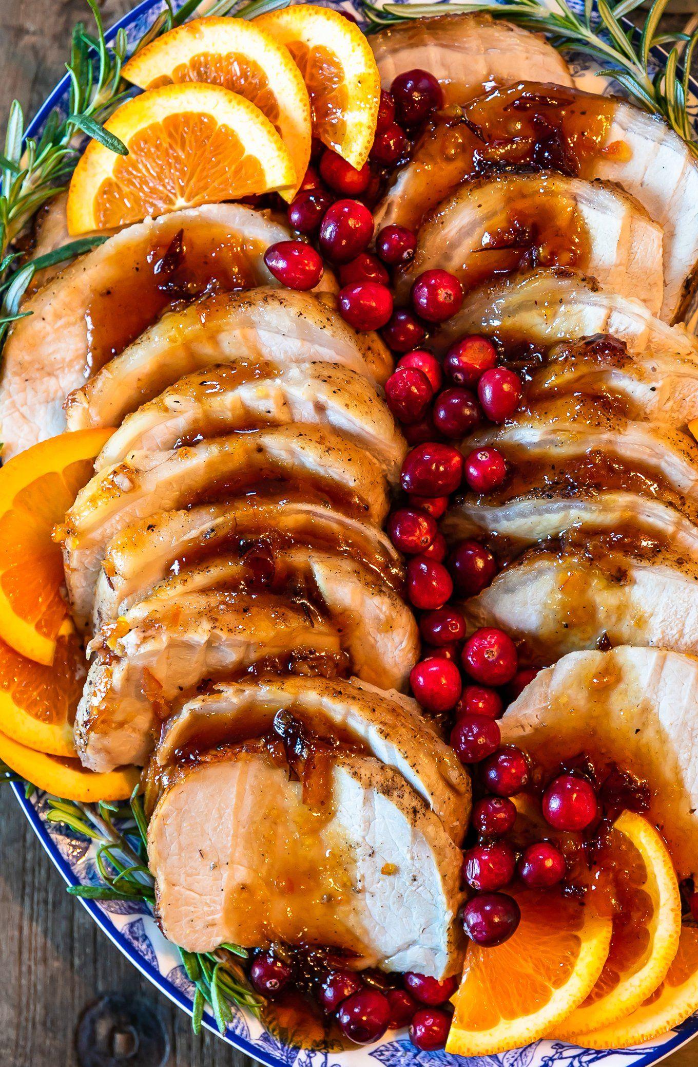 Christmas Meat Dishes.Orange Cranberry Pork Loin Roast