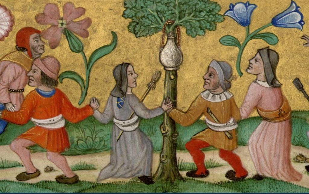 Dancing with her distaff tucked in her belt. Flemish Psaltry, Irish College in Paris http://www.wdl.org/en/item/232/view/1/138/
