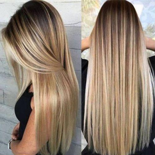 Gold Fashion Long Straight Wigs
