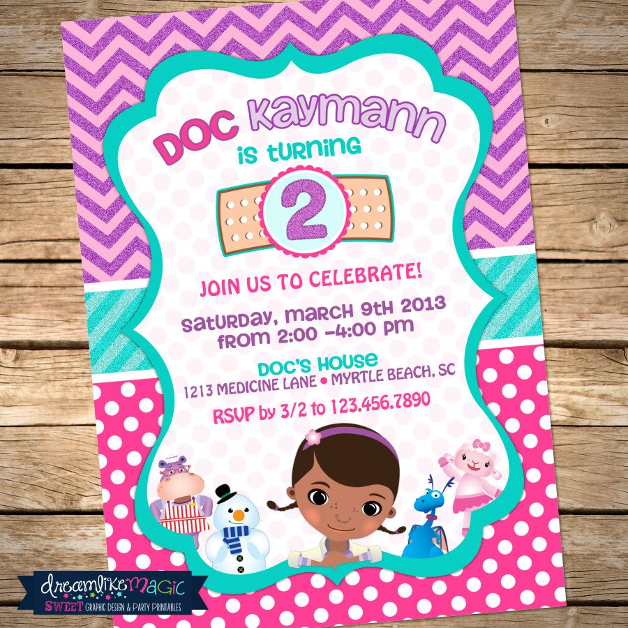 Printable Party Invitation Doc McStuffins by ...