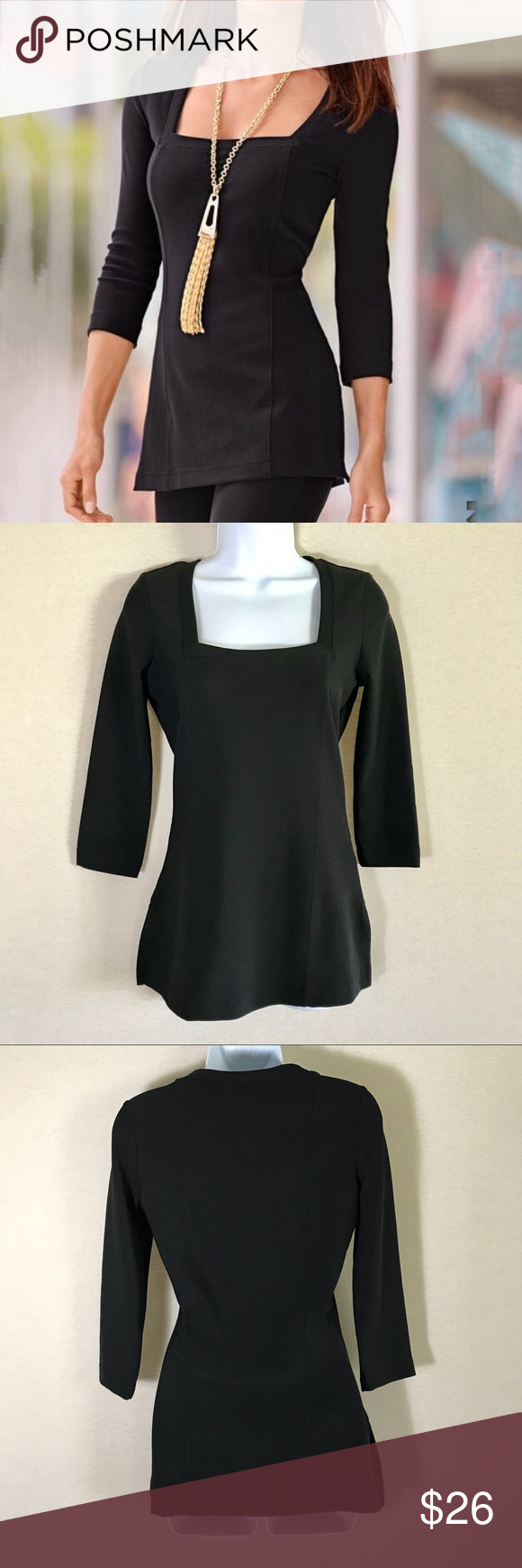 30a9193a345 👗Boston Proper Travel Square Neck Tunic Top XS This is a pretty, wrinkle  resistant sexy tunic with 3/4 sleeves. It is great for travel and is NWOT.