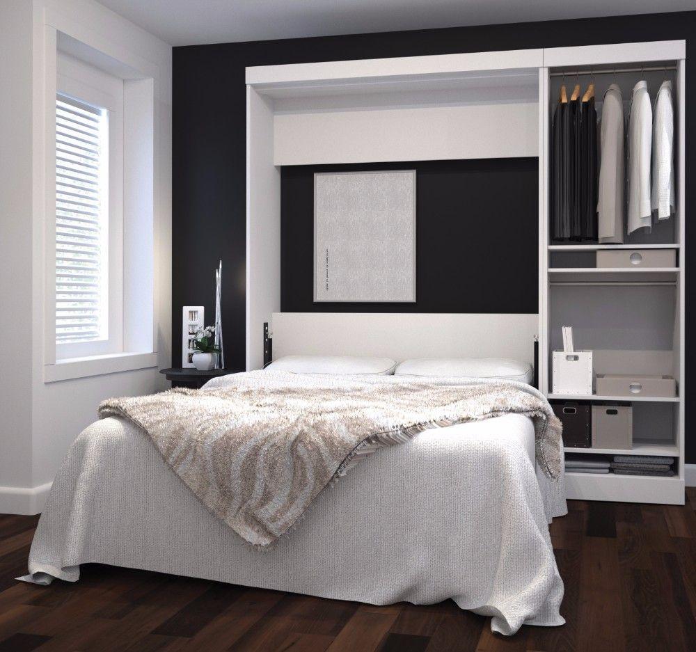 """Nebula by Bestar 84"""" Full Wall Bed kit in White Bestar"""