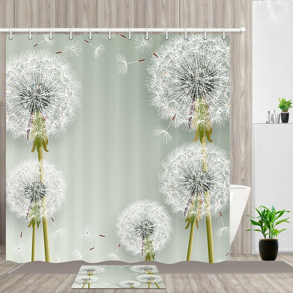 Flying Dandelion Shower Curtain Bathroom Decor Fabric 12hooks