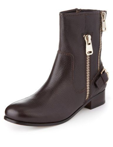 aaef3cde07a27 Autograph Premium Leather Double Zip Biker Boots with leather lining and  Insolia Flex® - Marks & Spencer