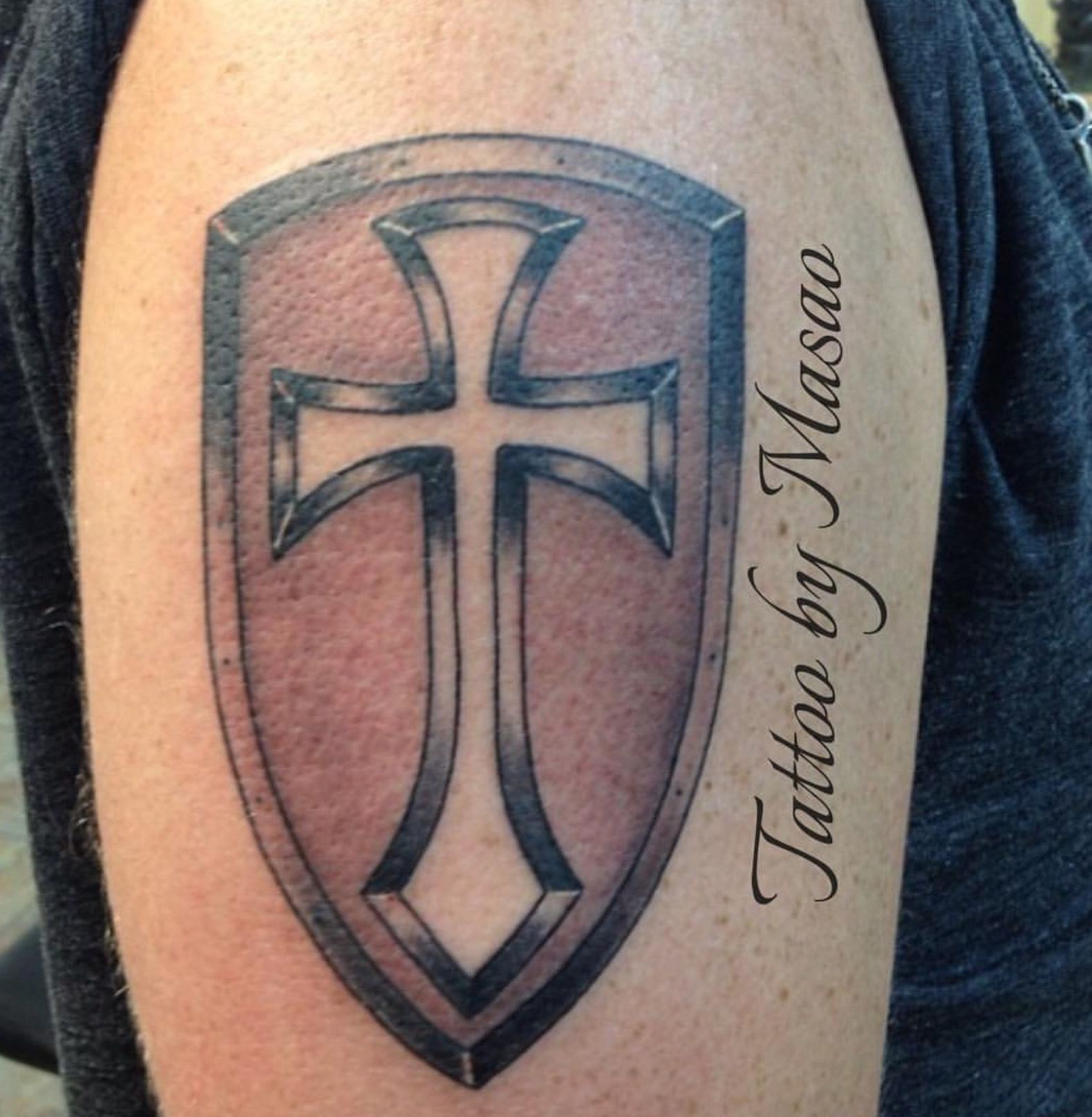 Cross Shield tattoo Tattoos by Masao Pinterest
