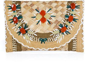 4601ad4886 ShopStyle: Anya Hindmarch Natural Gem Embellished Straw Clutch Ipanema