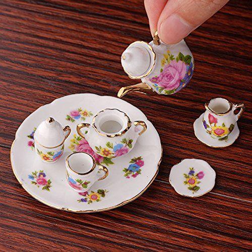 1:12 New Mini Porcelain Tea Set For Miniature Dollhouse Accessory Decor - Toys #miniaturedollhouse