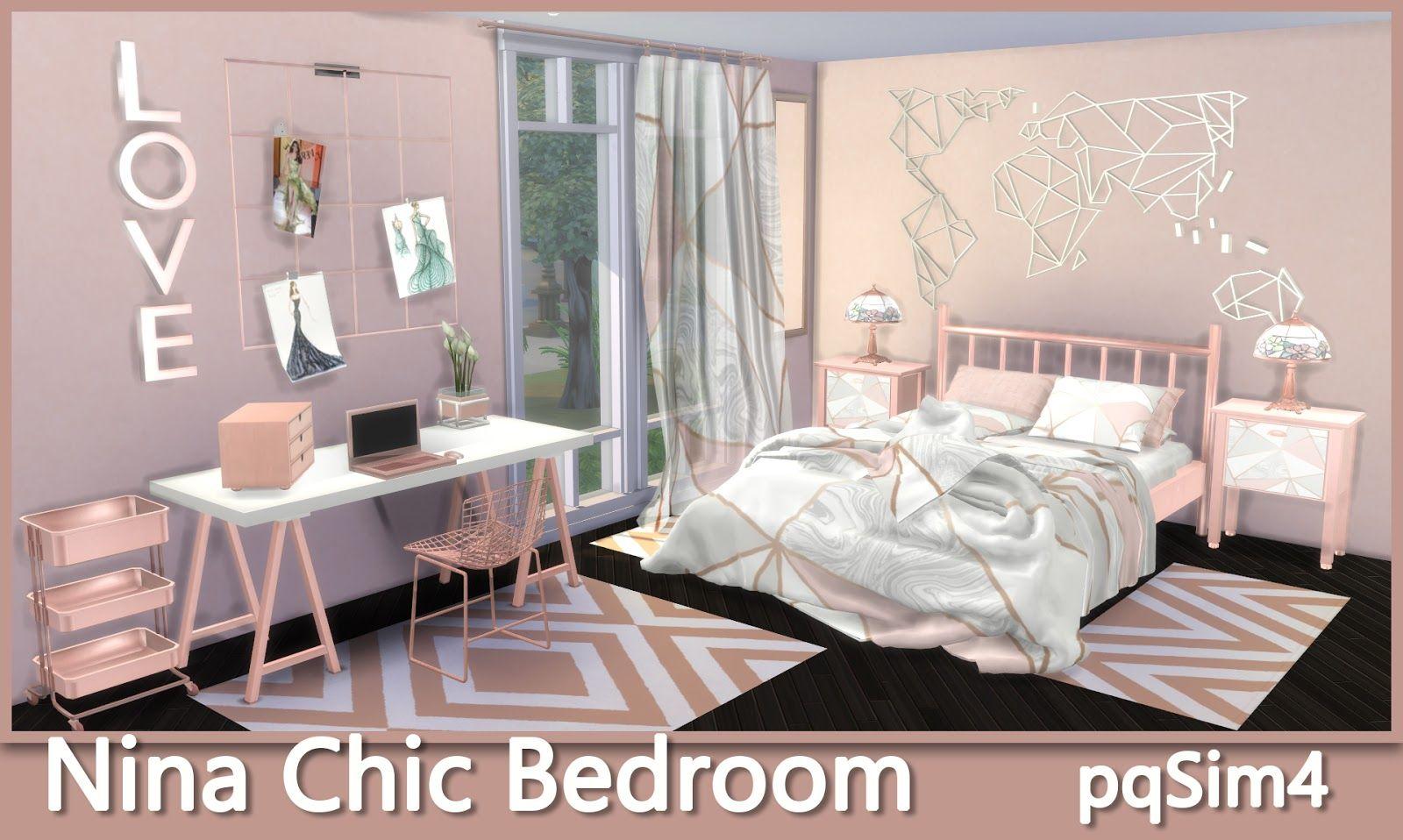 NINA CHIC BEDROOM by pqsim4 Sims 4 cc möbel, Sims 4