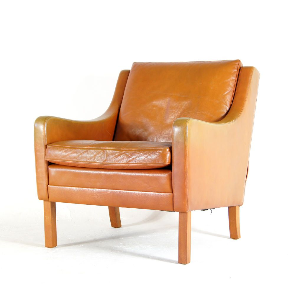 Retro Vintage Danish Low Back Rosewood Leather Lounge Sofa Chair Armchair  1960s