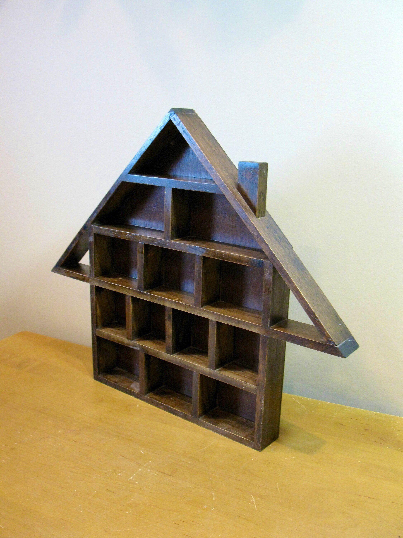 Wood Shadow Box 15 1 2 X 19 House Shaped Knick Knack Trinket Display Case Wall Curio Miniatures Collections Case 15 Compartment In 2020 Wood Shadow Box Shadow Box Wood