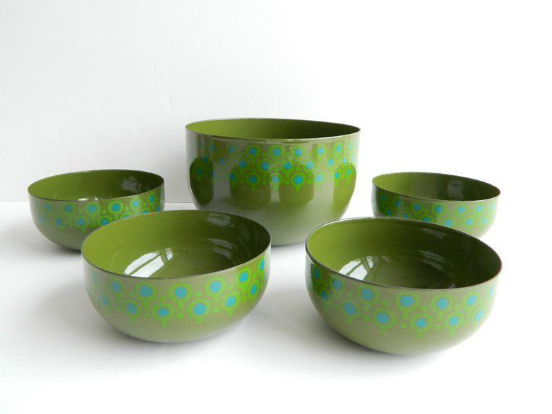5 Mid Century Modern Green Blue Enamel Vefa Bowls. via Etsy.