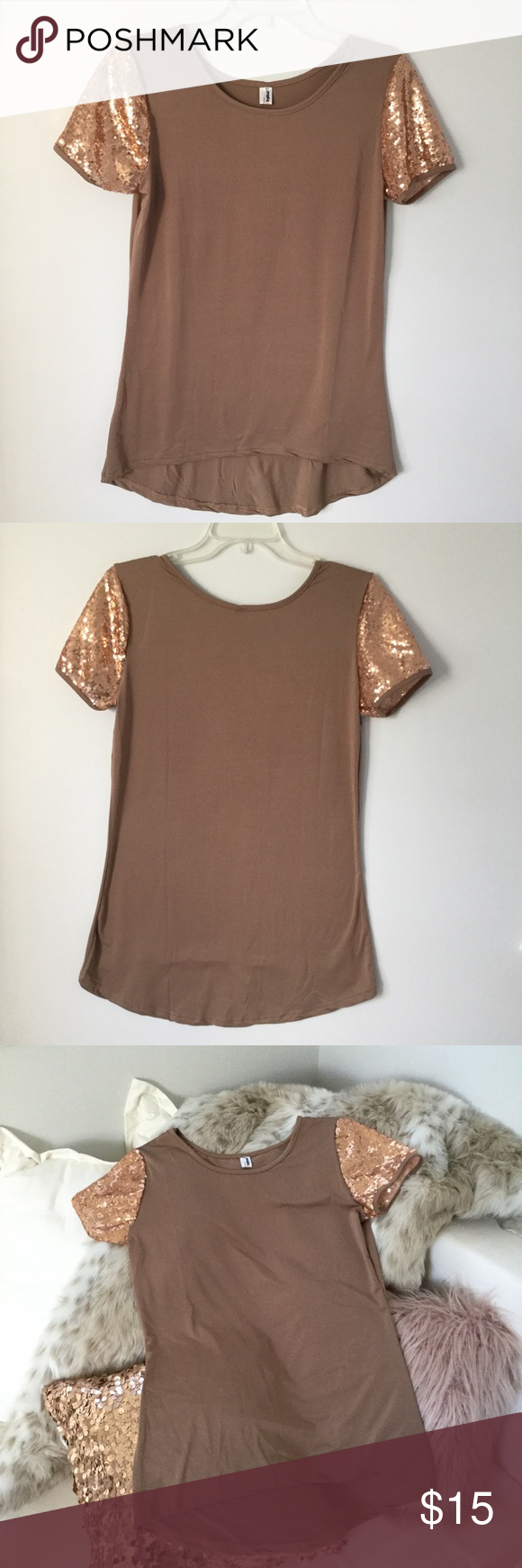 Tan high low top with sequin sleeves boutique my posh picks