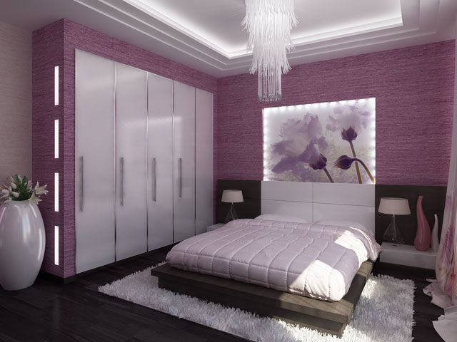modern, bedroom, purple, home, 3d, interior, design, ideas ...