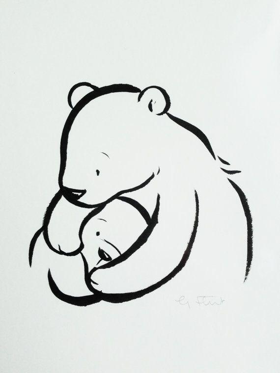 Original Brush Pen Illustration Mama And Baby Bear