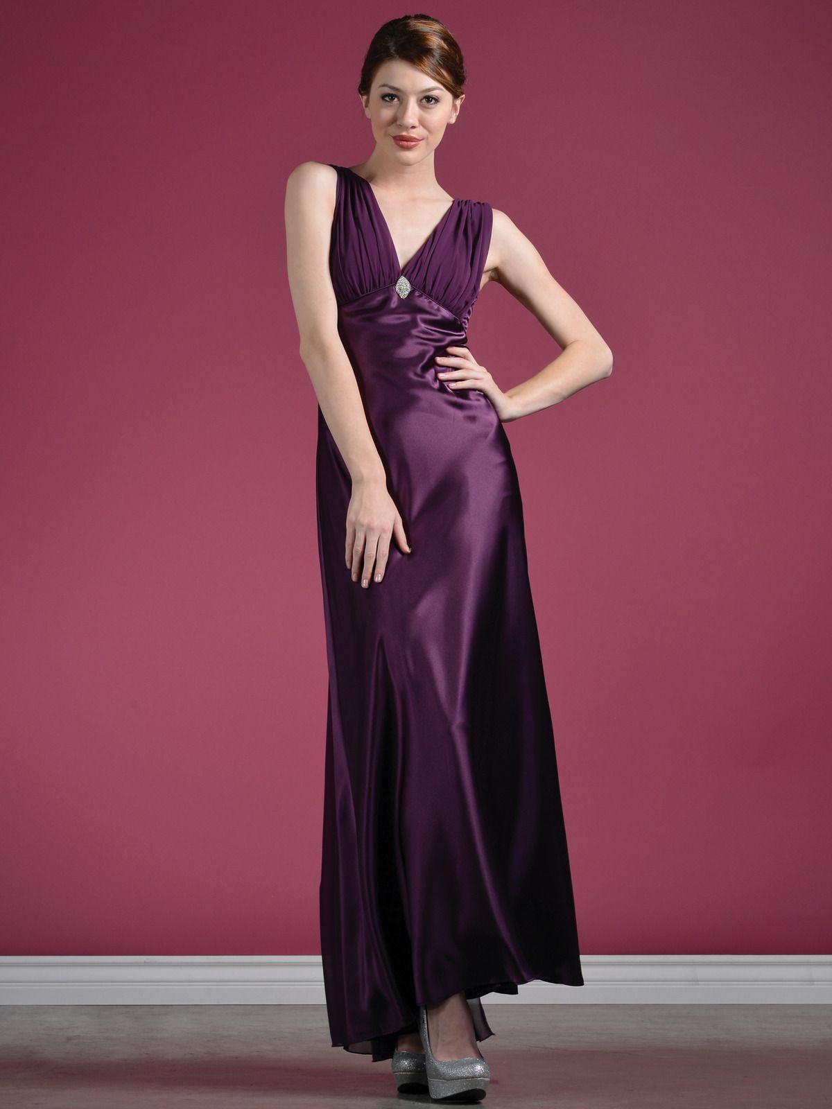 Plum Satin Evening Dress   Pinterest