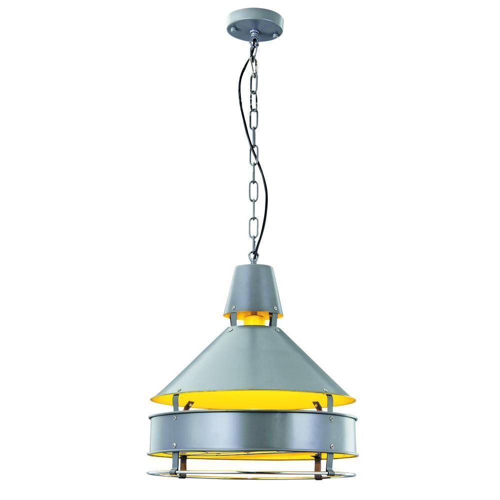 Elegant Lighting Industrial 1-Light Grey Pendant Lamp