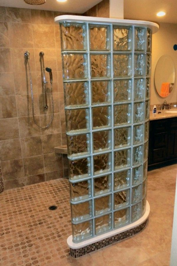 Briques de verre recherchent douche moderne salle de - Pave de verre salle de bain ...