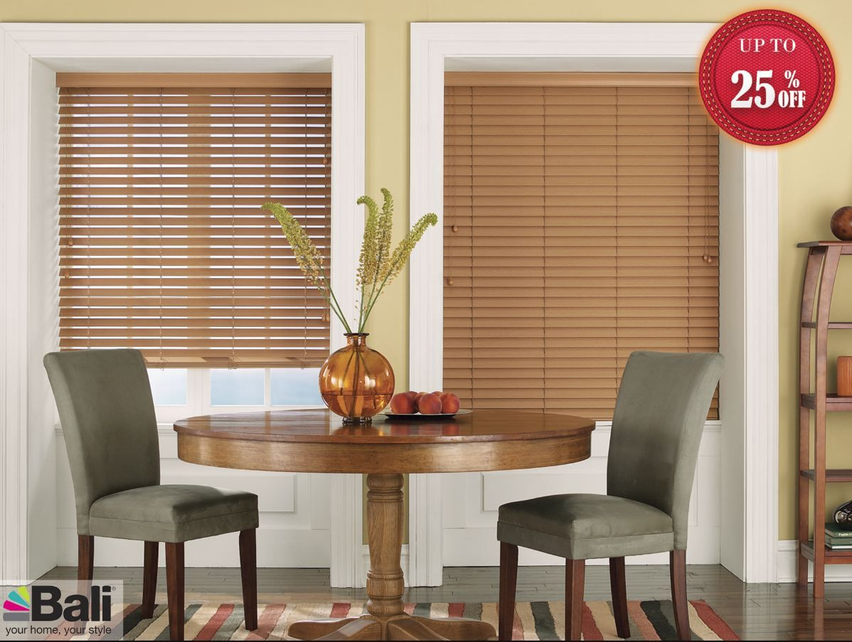 """Product Name: Bali Essentials  Collection:    Style:  2"""" Faux Wood Blinds  Color Name:  Maple  Color Number:  C013  Shop At: http://www.blindscentral.com/bali-essentials.html"""